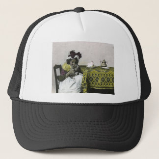 Victorian Girl Teat Time with Kitty Vintage Trucker Hat