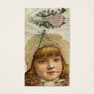 Victorian Girl Vintage Roses Dragonfly Ephemera Business Card