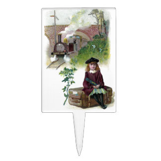 Victorian Girl Waiting for Train Cake Topper