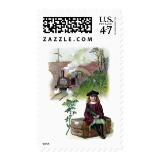 Victorian Girl Waiting for Train Postage