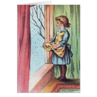 Victorian Girl Watching Snowfall Greeting Cards