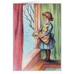 Victorian Girl Watching Snowfall Greeting Cards