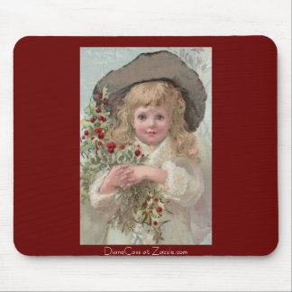Victorian Girl with Christmas Holly Mouse Pad