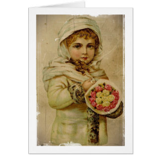 Victorian Girl with Christmas Roses Card