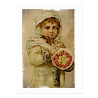 Victorian Girl with Christmas Roses Postcard