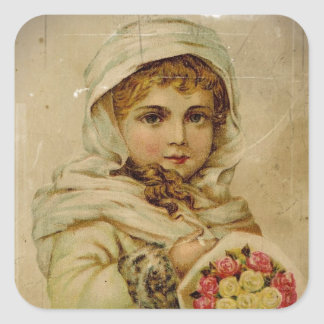Victorian Girl with Christmas Roses Square Sticker
