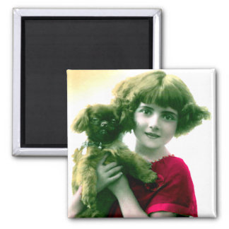 Victorian Girl with Dog Magnet