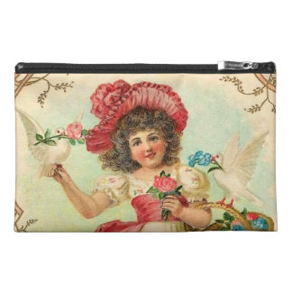 Victorian Girl with Doves Travel Accessory Bag
