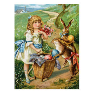 Victorian Girl with Easter Bunnies Eggs Post Post Card