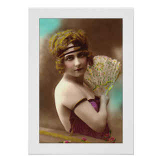 victorian girl with fan headband poster