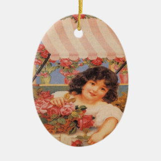 Victorian Girl with Flowers Oval Ornament