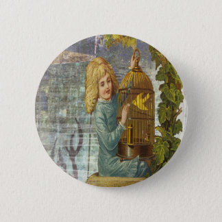 Victorian Girl With Gilded Canary Cage Button