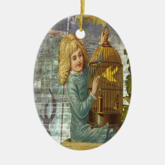 Victorian Girl With Gilded Canary Cage Ceramic Ornament