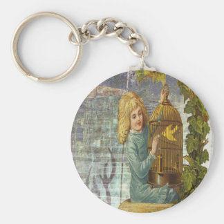 Victorian Girl With Gilded Canary Cage Keychain