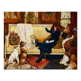 Victorian Girl with Pets Poster