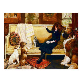 Victorian Girl with Pets Vintage Art Postcard