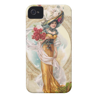 Victorian Girl with Red Roses iPhone 4 Cover