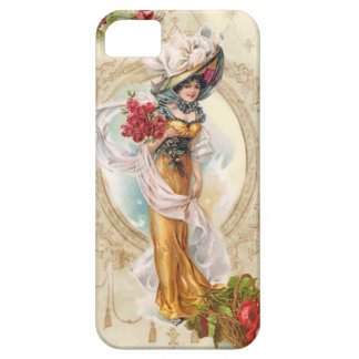 Victorian Girl with Red Roses iPhone SE/5/5s Case