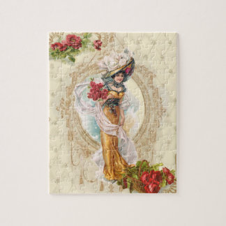 Victorian Girl with Red Roses Jigsaw Puzzle