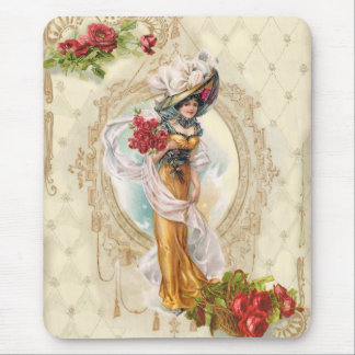 Victorian Girl with Red Roses Mouse Pad