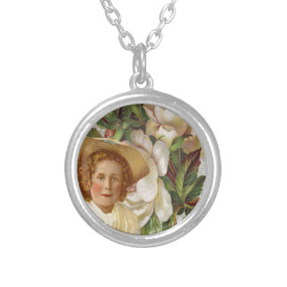 Victorian Girl With Rose Bonnet Round Pendant Necklace
