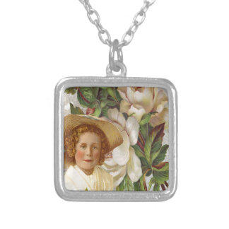 Victorian Girl With Rose Bonnet Square Pendant Necklace