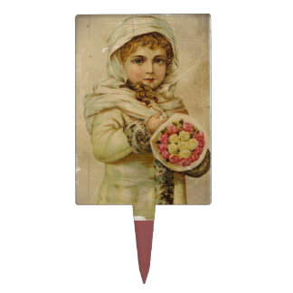 Victorian Girl with Roses Cake Topper