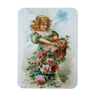 Victorian Girl with Roses Magnet