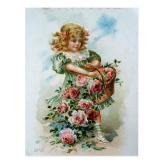 Victorian Girl with Roses Postcard