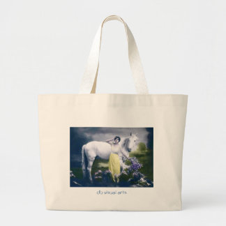 victorian girl with white horse jumbo tote bag