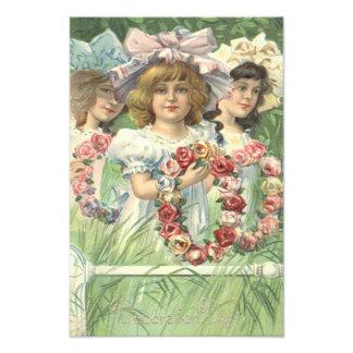 Victorian Girl Wreath Rose Memorial Day Photo Print