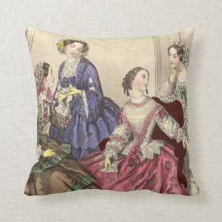 Victorian Girlfriends Vintage French Fashions Throw Pillow