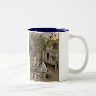 Victorian Girls And Rabbits Two-Tone Coffee Mug