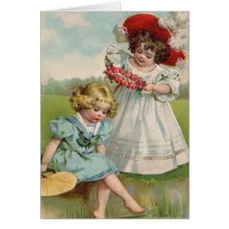 Victorian girls by the water greeting card