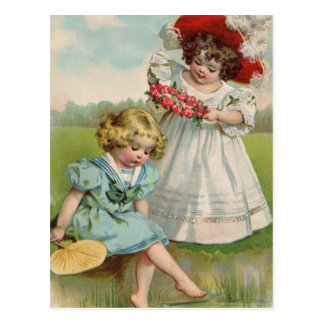 Victorian girls by the water postcard