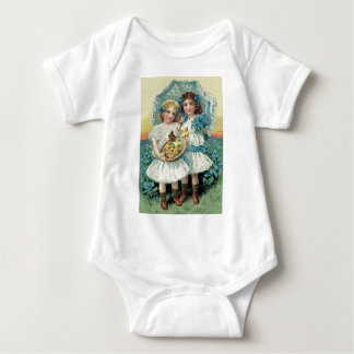 Victorian Girls Easter Chick Forget Me Not Umbrell Baby Bodysuit