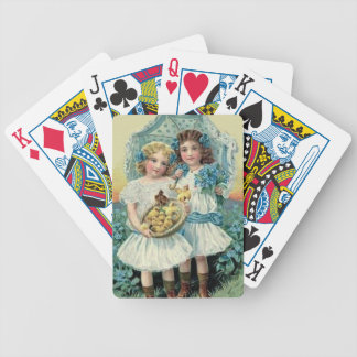 Victorian Girls Easter Chick Forget Me Not Umbrell Bicycle Playing Cards