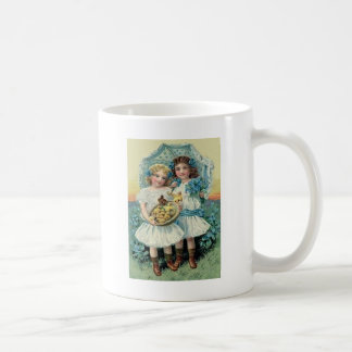 Victorian Girls Easter Chick Forget Me Not Umbrell Coffee Mug