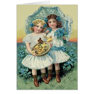 Victorian Girls Easter Chick Forget Me Not Umbrell Greeting Card