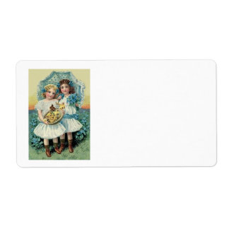 Victorian Girls Easter Chick Forget Me Not Umbrell Label