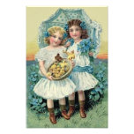 Victorian Girls Easter Chick Forget Me Not Umbrell Photograph