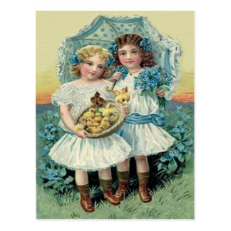 Victorian Girls Easter Chick Forget Me Not Umbrell Postcard