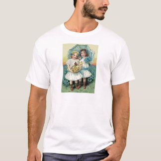Victorian Girls Easter Chick Forget Me Not Umbrell T-Shirt