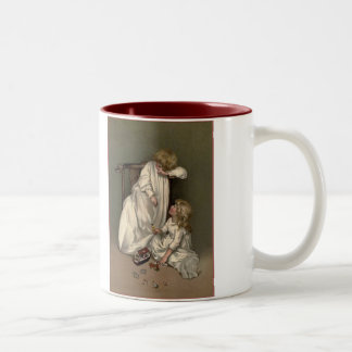 Victorian Girls With Toys Two-Tone Coffee Mug