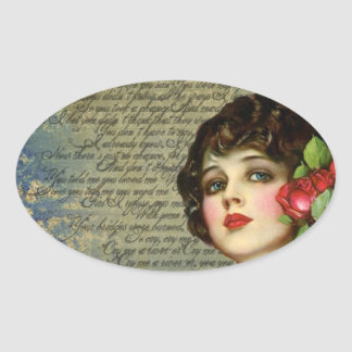 Victorian Glamour Girl w/ Red Rose Oval Sticker