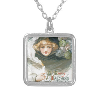 Victorian Goblin Halloween Silver Plated Necklace