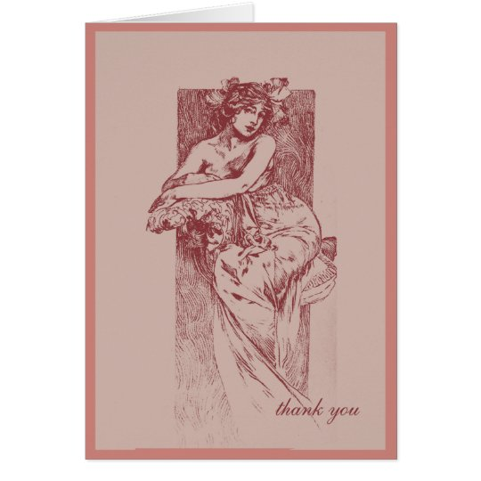 Victorian Goddess in Rose Thank You Card