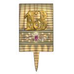 Victorian Gold Number 13 Cake Pick