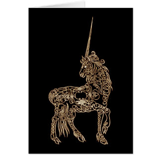 Victorian Gold Pen flourished Calligraphy Unicorn Greeting Card