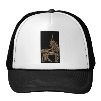 Victorian Gold Pen flourished Calligraphy Unicorn Trucker Hat